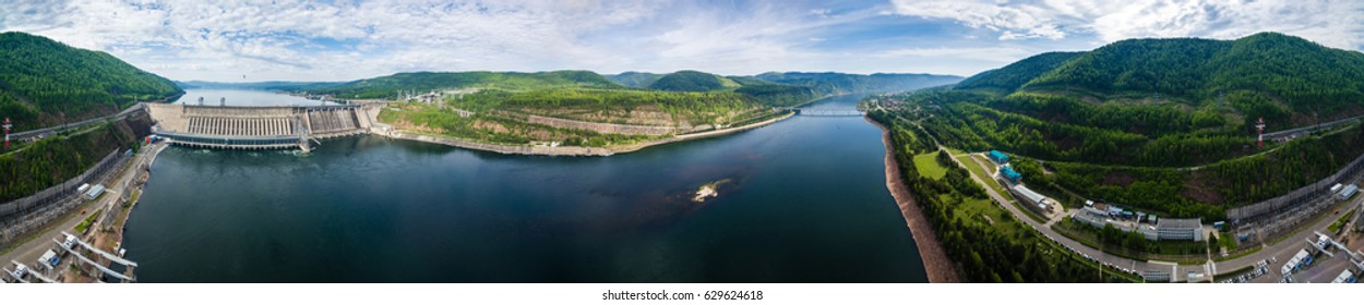 Panorama Russia, Siberia, Krasnoyarsk a view from height on hydroelectric power station on the Yenisei River, shooting from air, soft focus