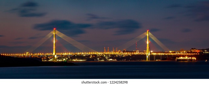 Panorama of the Russian bridge connecting the mainland and the Russian island in Vladivostok.