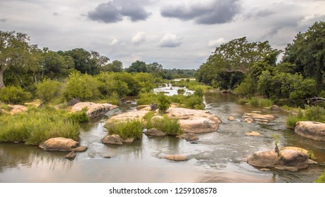 Panorama of Sabie river crossing near Skukuza camp in Kruger national park South Africa