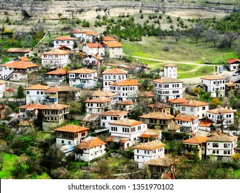 Panorama of Safranbolu city in Turkey, famous UNESCO architecture. Safranbolu Old Town preserves many historic buildings, with 1008 registered historical artifacts, situated in a deep ravine.