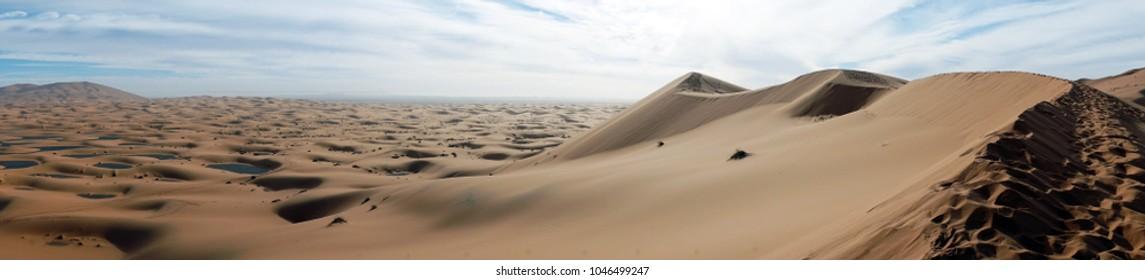 Panorama of Sahara desert near Merzuga village in Morocco