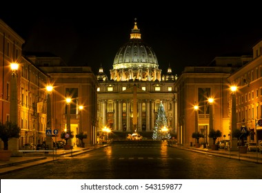 Panorama of Saint Peter's Basilica in Vatican city at night, Rome, Italy