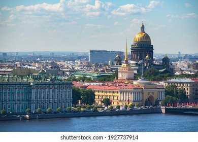Panorama of Saint Petersburg. Russia town. Admiralty top view. Dome of St. Isaac's Cathedral over Saint Petersburg. Panorama with buildings of St. Petersburg. Russian architecture. Tour across Russia
