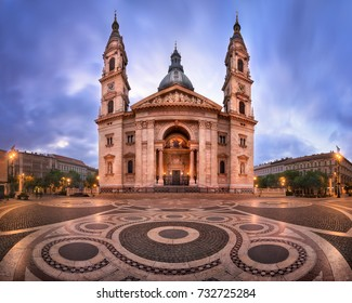 Panorama of Saint Stephen Basilica in the Morning, Budapest, Hungary