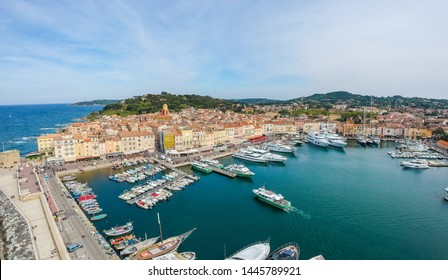 Panorama of Saint Tropez, Cote d'Azur, France, South Europe. Nice city and luxury resort of French riviera. Famous tourist destination with nice beach on Mediterranean sea