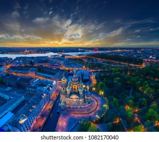 Panorama of Saint-Petersburg. Architecture of Petersburg. View of the Field of Mars and the Church of the Savior on Blood. Panorama of the city of Russia. Summer evening in St. Petersburg.
