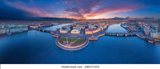 Panorama of Saint-Petersburg. View of St. Petersburg. Vasilievsky Island. The Palace Bridge. Dawn over St. Petersburg. Panorama of Russia. Cities of Russia.
