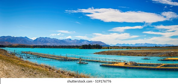 Panorama at Salmon Fish farm , South Island, New Zealand