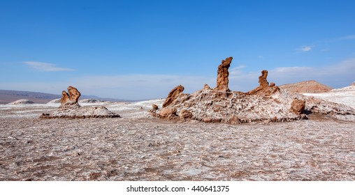 Panorama of salt sculptures, which are unique geological formations in a lifeless place called the moon Valley in Atacama Desert - Chile, South America