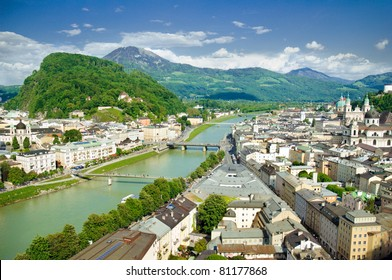 Panorama of Salzburg. Austria. Focus on a foreground