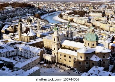 Panorama of Salzburg in winter time