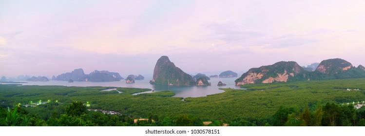 Panorama of Samed Nangshe viewpoint at sunrise time, Phang Nga Bay, Thailand