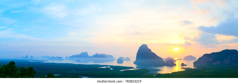 Panorama of Samed Nangshe viewpoint at sunrise, Phang Nga Bay, Thailand
