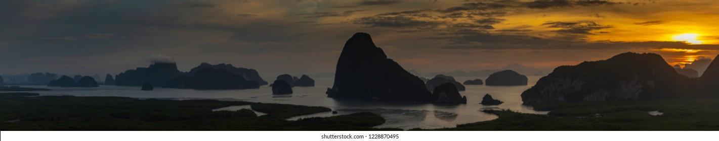 Panorama Samet Nang Chee Viewpoint Phangnga Thailand