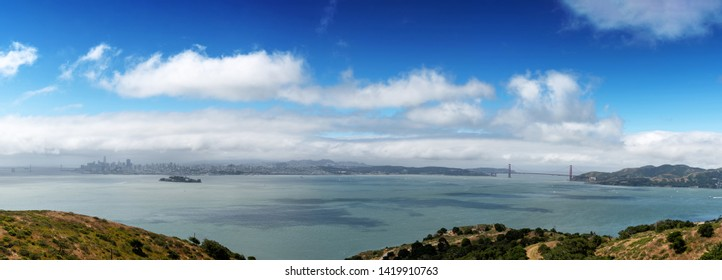 Panorama of San Francisco, including the Golden Gate Bridge and Alcatraz Island, as seen from Angel Island