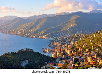 panorama of san rocco camogli, genoa, italy