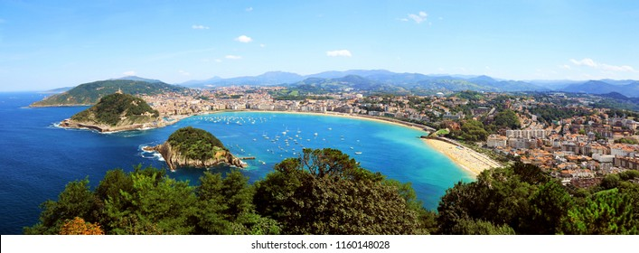 Panorama of San Sebastian bay in Spain
