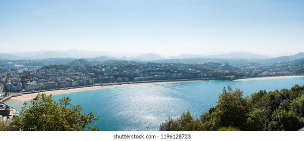 Panorama of San Sebastian with Concha Bay. Basque country of Spain.