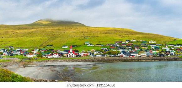 Panorama of Sandavagur Village,  Faroe Islands