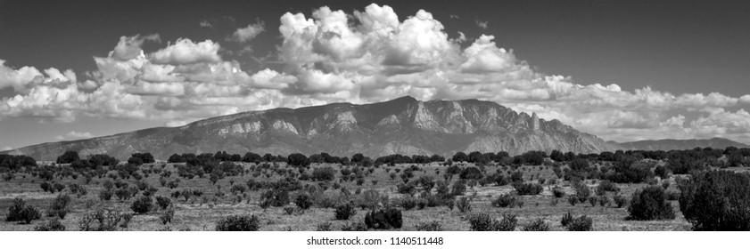 Panorama of Sandia Mountains in Albuquerque, New Mexico