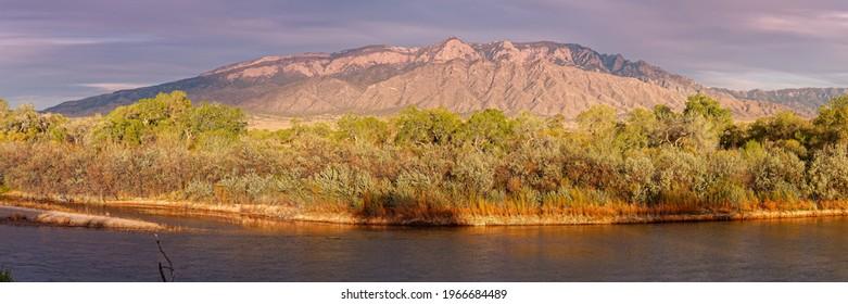 Panorama of Sandia Mountains and Rio Grande Bosque from Rio Rancho Bosque Preserve Albuquerque