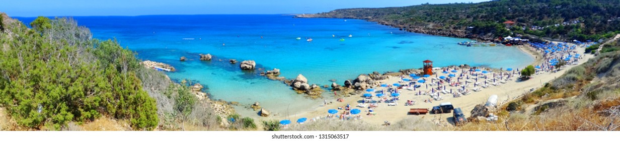 panorama of sandy beach fig tree bay coast in the mediterranean sea landscape on Cyprus island