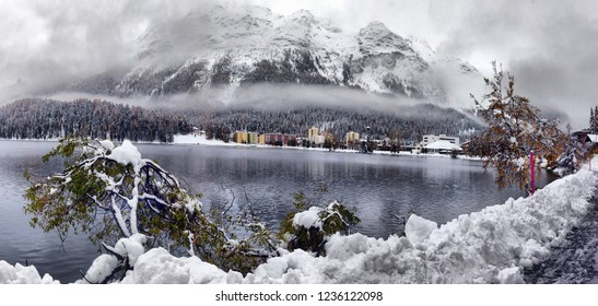 panorama of Sankt Moritz (Saint Moritz, San Maurizio) town in Engadine, Swiss Alps, during winter