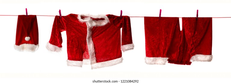 panorama with Santa Claus clothes hanging on a clothesline to dry