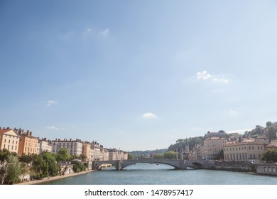 Panorama of Saone river and the Quais de Saone riverbank and riverside in the city center of Lyon, next to the Colline de Fourviere Hill