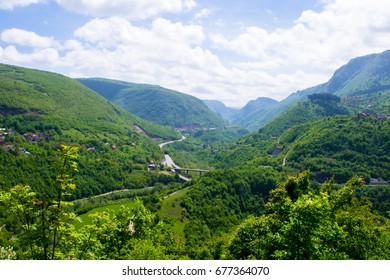 Panorama of Sarajevo, the capital of Bosnia and Herzegovina, and the mountains surrounding the valley of river Miljacka