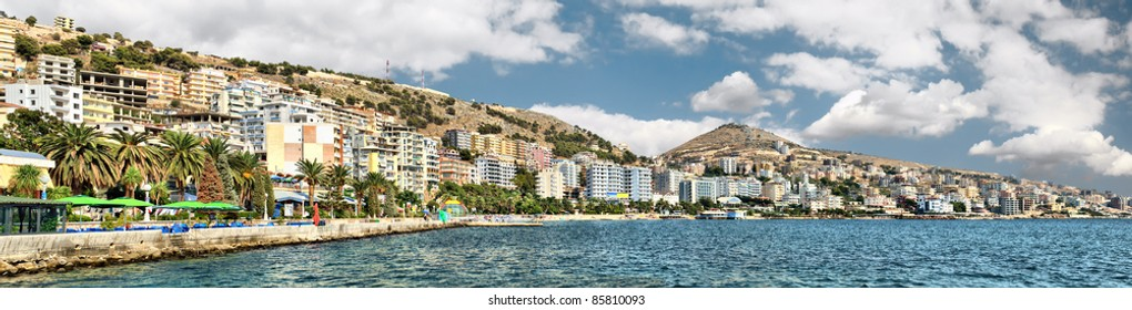 Panorama of Saranda city. Albania
