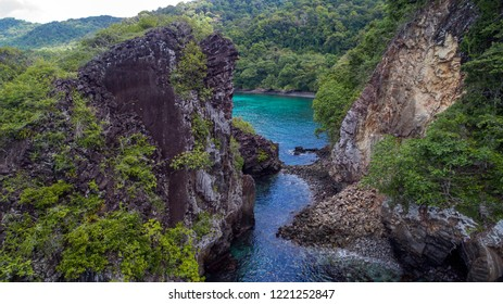 """Panorama """"Sarang Cave"""". the coolest natural tourist destinations in Sabang, Pulau Weh, Aceh Province even one of the coolest tourist spots in Indonesia which is in the north of the island of Sumatra."""
