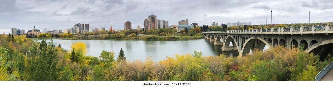 A Panorama of Saskatoon, Canada skyline over river