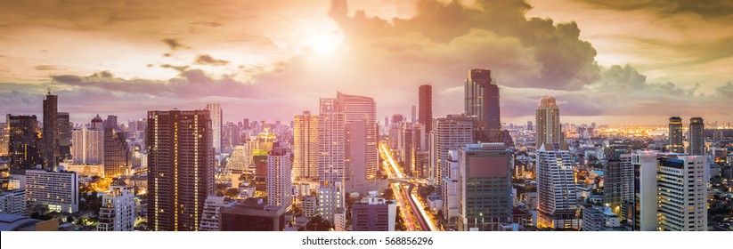 Panorama of Sathorn District with Modern Building, Sunset with Bangkok Cityscape (Thailand)