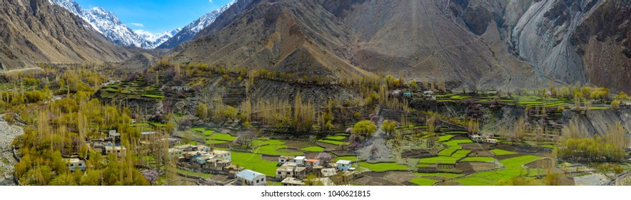 A panorama of Satpara village in Skardu, Pakistan