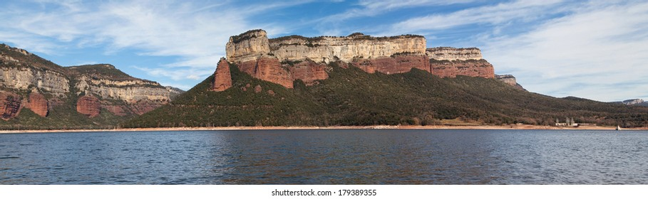 Panorama of Sau Reservoir in the Barcelona province, Catalonia.