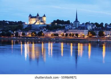 Panorama of Saumur at night. Saumur, Pays de la Loire, France
