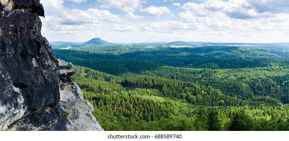 Panorama of Saxon Switzerland national park in Czech Republic