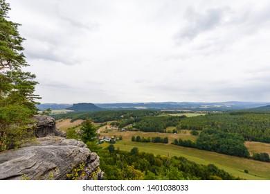 panorama of saxon switzerland, view from mountain pfaffenstein