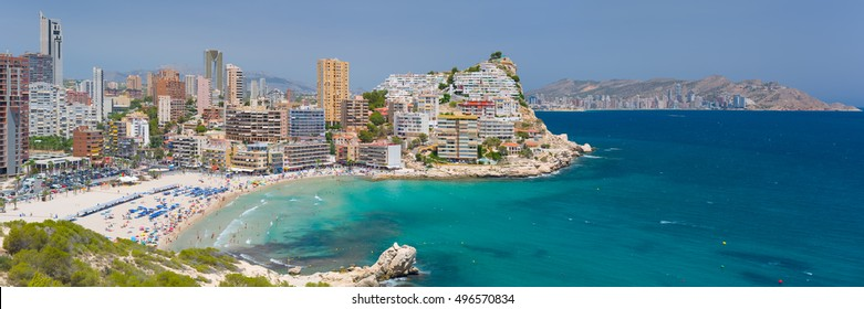 Panorama of scenic bay in Benidorm in a summer day