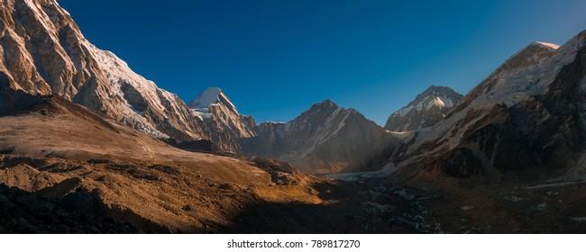 panorama scenic in the morning taken while trekking to Gorak shep village.