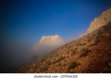 Panorama of Schalbus-Dag mountain in fog at Dagestan, Caucasus Russia