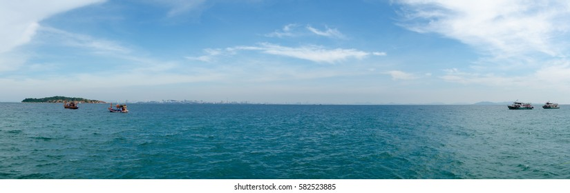 Panorama of The Sea with The Blue Sky at Pattaya City, Thailand.