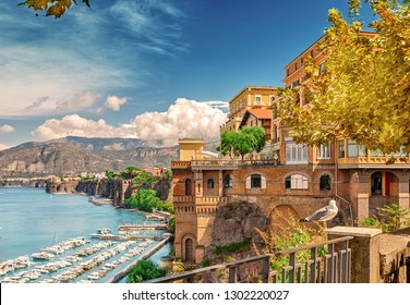 Panorama of the sea coast of the resort city. Sorrento. Campaign. Italy.