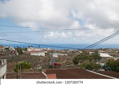 Panorama with sea and electric wires.
