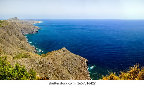 Panorama with sea and mountains on the southern coast of Spain, Costa Blanca