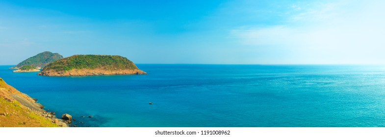 Panorama of the sea.Iislands and blue sky