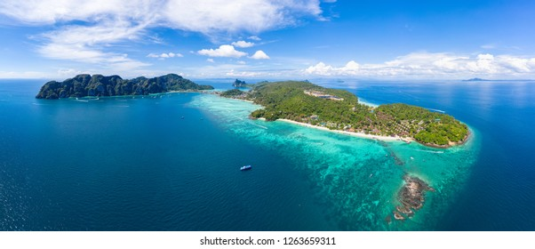 panorama seascape and phi phi island hi season summer holiday to travel amazing Thailand aerial view from drone