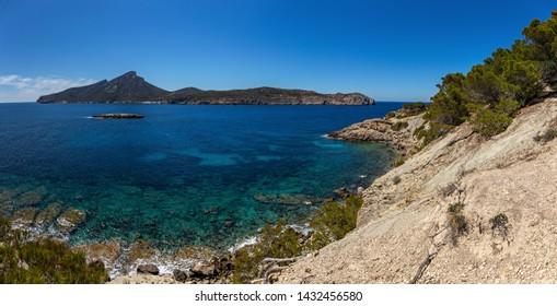 Panorama Seascape with rocky coast of Mallorca, Spain