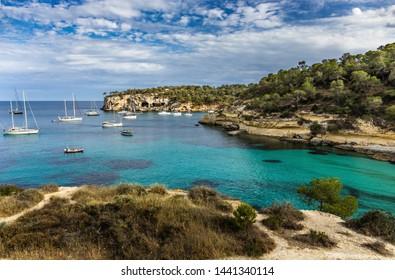Panorama Seascape with rocky coast of Mallorca, Cala Del Mago, Spain